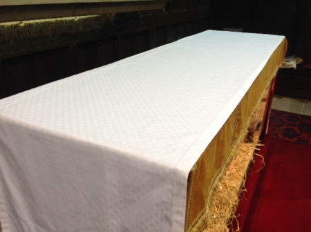 Altar Cloth in Woven/Crosses Poly/Linen